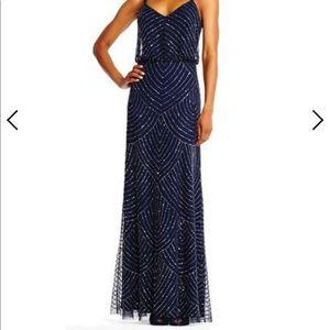 Adrianna Pappel Navy Beaded Bridesmaid Dress -Sz 6